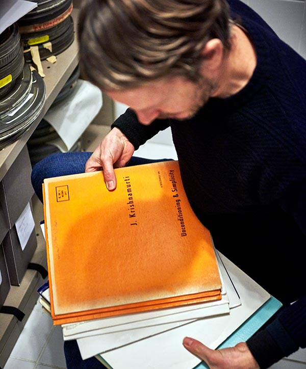 Archivist at work at Krishnamurti Foundation Trust, Brockwood Park