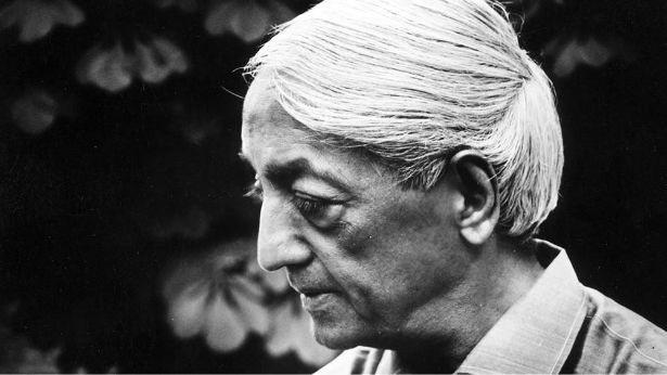 Black and white portrait of Jiddu Krishnamurti