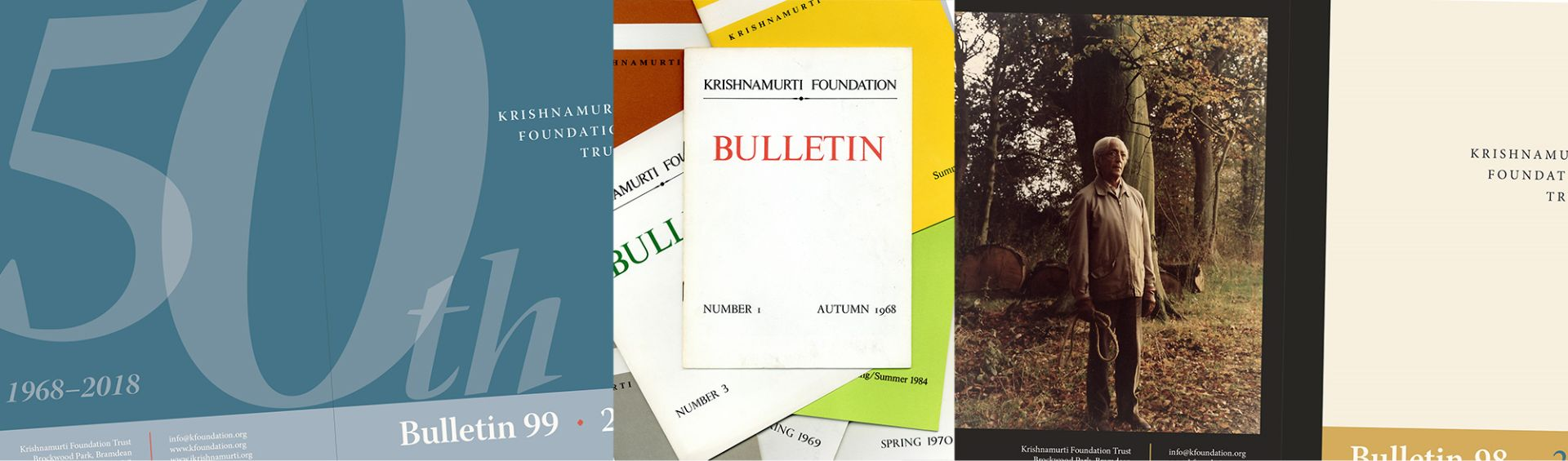 A collage of covers of Krishnamurti Foundation Trust bulletins