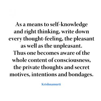 As a means to self-knowledge and right thinking