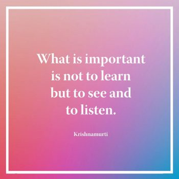 What is important is not to learn but to see and to listen