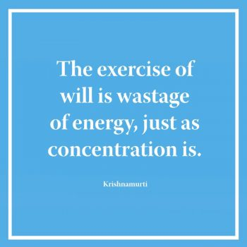 The exercise of will is wastage