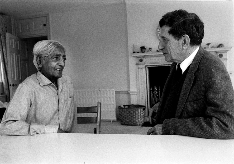 Photo of David Bohm and Krishnamurti in conversation