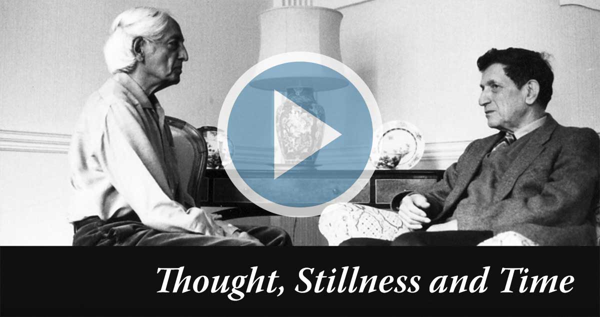 Video overlay showing Krishnamurti and David Bohm in conversation