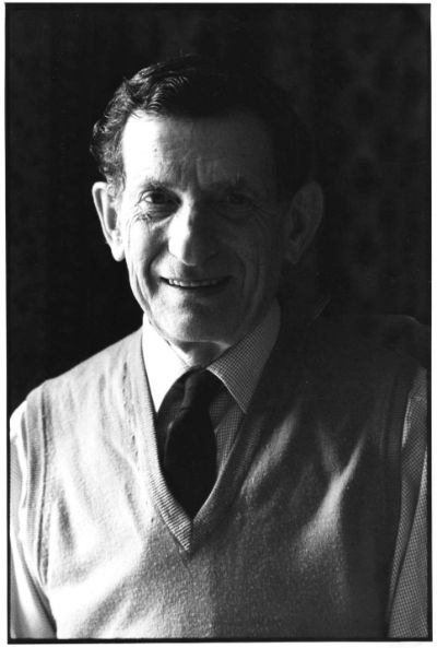 Black and white portrait of David Bohm