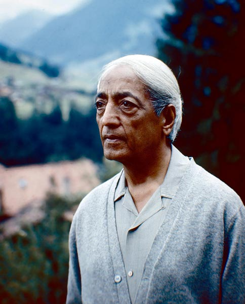 A colour photograph of J. Krishnamurti