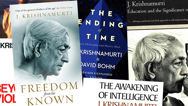 A collage of cover of books by Krishnamurti