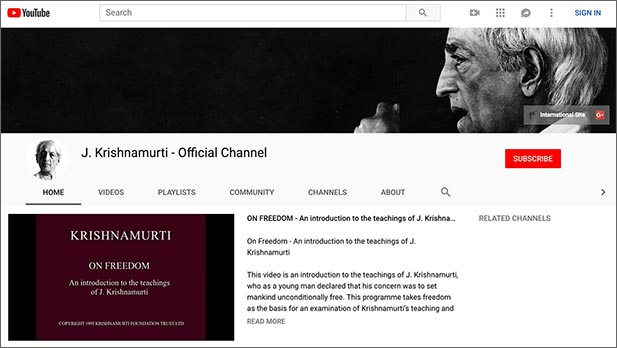 A screenshot of Krishnamurti's official YouTube channel