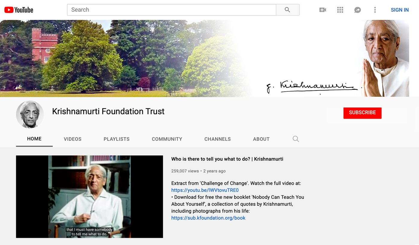A screenshot from Krishnamurti official YouTube channel