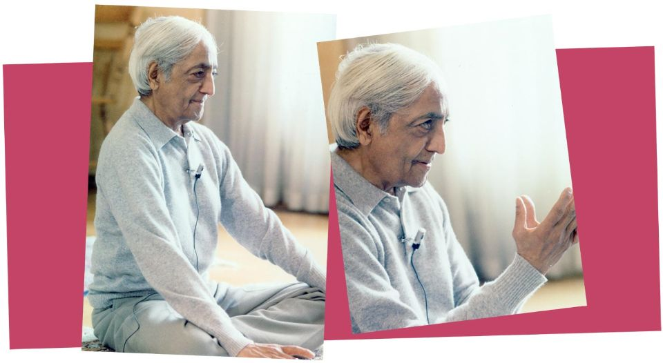 Krishnamurti sitting cross-legged